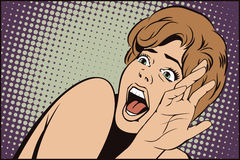 People in retro style. Girl screaming in horror. Stock illustration. People in retro style pop art and vintage advertising. Girl screaming in horror Stock Images