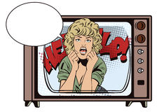 People in retro style. Girl screaming in horror. Stock Photography