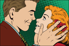 People in retro style. Guy wants to kiss a girl. Royalty Free Stock Photos