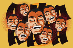 People in retro style. Laughing man. Stock Photo