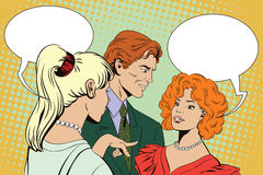 People in retro style. Men and girls talking. Stock illustration. People in retro style pop art and vintage advertising. Men and girls talking. Gossip at party Stock Images