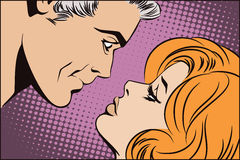 People in retro style pop art. Couple in love. Royalty Free Stock Image