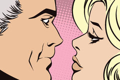 People in retro style pop art. Couple in love. Royalty Free Stock Photo