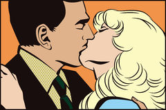 People in retro style pop art. Kissing couple Royalty Free Stock Photography
