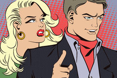 People in retro style pop art and vintage advertising. Man with a girl wants to attract attention Stock Photography