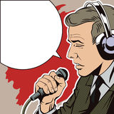 People in retro style pop art and vintage advertising. A man with a microphone Stock Photography