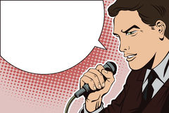 People in retro style pop art and vintage advertising. A man with a microphone Stock Image