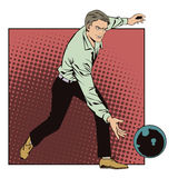People in retro style pop art and vintage advertising. Man throws ball in bowling. Stock Photos