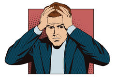 People in retro style pop art and vintage advertising. Upset man clutching his head. Stock Image