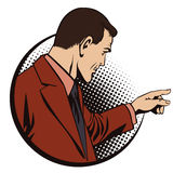 People in retro style pop. Businessman points finger. Stock Images