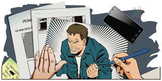 People in retro style. Rage men screaming. Stock Photography