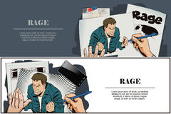 People in retro style. Rage men screaming. Stock Images