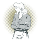 People in retro style. Sad girl. Royalty Free Stock Image
