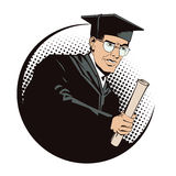 People in retro style. Teacher with diploma. Royalty Free Stock Photos