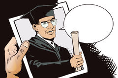 People in retro style. Teacher with diploma. Stock Images