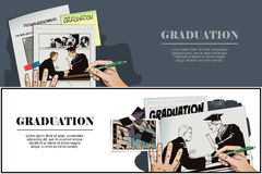 People in retro style. Teacher presents diploma student. Royalty Free Stock Photos