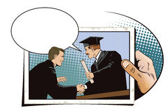 People in retro style. Teacher presents diploma student. Stock Images
