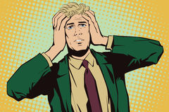 People in retro style. Upset man clutching his head. vector illustration
