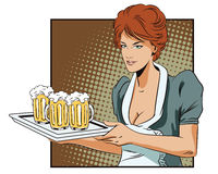 People in retro style. A waitress carrying a tray with a beer. Stock Photo