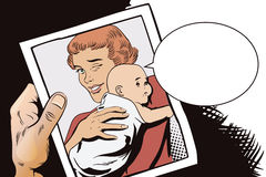 People in retro style. Woman with a baby. Stock Photography