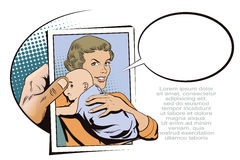 People in retro style. Woman with a baby. Royalty Free Stock Image