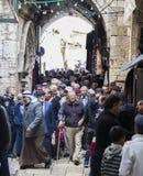 People return from Friday prayer. Jerusalem, Israel. stock photo