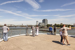 People at the Rhine River in Cologne, Germany stock image