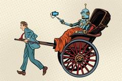 People rickshaw ride robot Royalty Free Stock Image