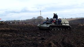 People ride in armored vehicles for the military-Patriotic festival Battle steel.Saint-Petersburg.Russia. stock video