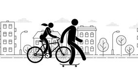 People ride around the city on various devices. Hoverboard, bicycle, skateboard, scooter, segway. Pictogram People. Individual eco transport. Loop animation vector illustration