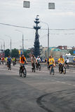 People ride bicycles in Moscow Royalty Free Stock Image