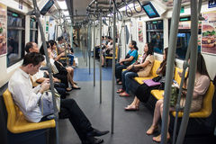 People ride in BTS Skytrain Stock Photography