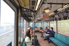 People ride Enoden Line in Kamakura,. The People ride Enoden Line in Kamakura stock photography