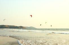 People ride on Kitesurf at sea in Goa Royalty Free Stock Image
