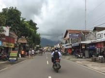 People ride motorbike on street at Borobudur, Indonesia Stock Photography
