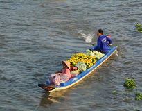 People ride motorboat on Mekong river in An Giang, Vietnam.  stock images