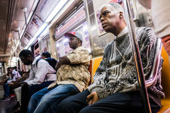 People ride Subway during afternoon in Manhattan royalty free stock photography