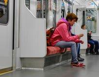 People ride Tokyo metro transit system in Tokyo Stock Photos