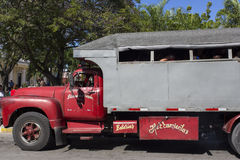 People ride truck buses camion in Holguin Royalty Free Stock Photos