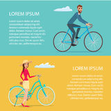 People riding bicycle. Cyclists man and woman. Cartoon poster Royalty Free Stock Image