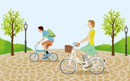 People riding bicycle in the park-EPS10 Stock Images