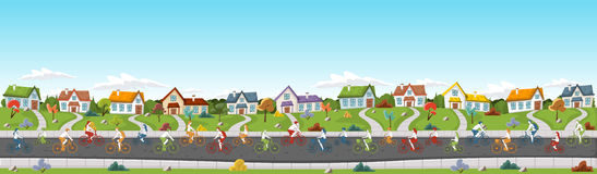 People riding bicycles on the street Royalty Free Stock Image