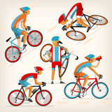 People riding bike at full speed. Set of colorful bicycle riders training for competition at cycling track Royalty Free Stock Photography