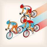 People riding bike at full speed. Set of colorful bicycle riders training for competition at cycling track Stock Photo