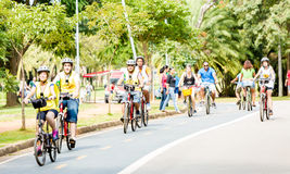 People riding bike in Ibirapuera Park in Sao Paulo, Brazil Stock Image