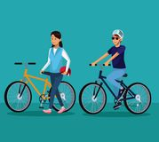 People riding bikes. Couple riding bikes cartoons vector illustration graphic design stock illustration