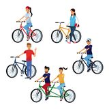 People riding bikes. Set of people riding bikes cartoons vector illustration graphic design vector illustration