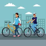 People riding bikes. Young couple riding bikes at city vector illustration graphic design stock illustration