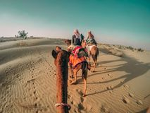 People riding camels in a desert in India with footprints showing on the sand stock photography