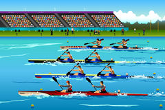 People riding canoe in river during competition Royalty Free Stock Image